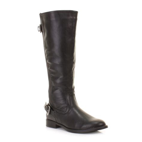 wide calf boots cheap womens black stretch leather look wide calf fit