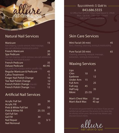 salon menu layout anh vu design blog allure nail salon spa