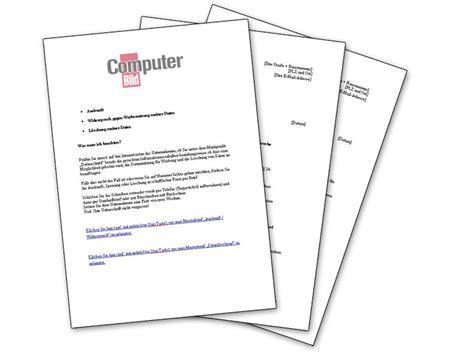 Musterbriefe Der Verbraucherzentralen Nutzen Tipps Musterbriefe Zur L 246 Schung Pers 246 Nlicher Daten Im Computer Bild
