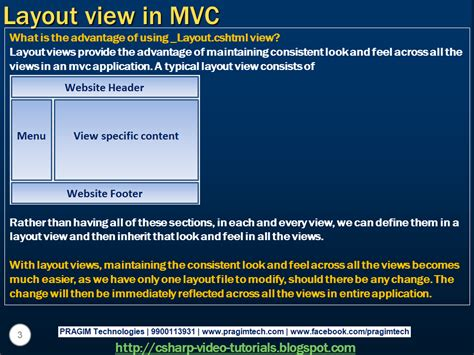 Part 59 Layout View In Mvc | sql server net and c video tutorial part 59 layout