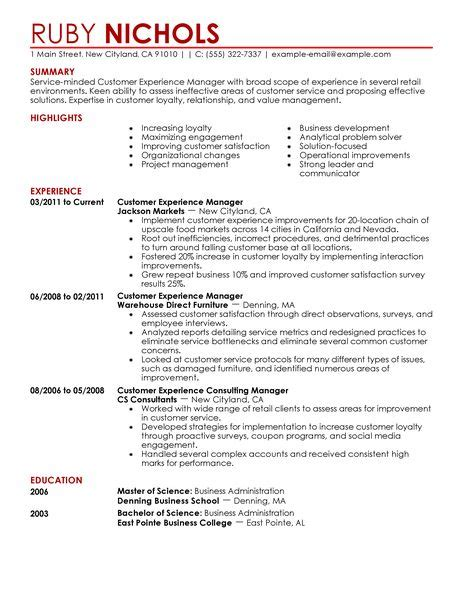 Resume Exles For Retail Experience Best Customer Experience Manager Resume Exle Livecareer