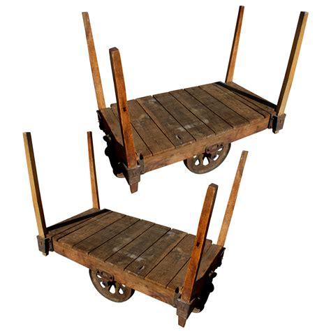 48 quot pair antique wood iron industrial rolling cart ebay