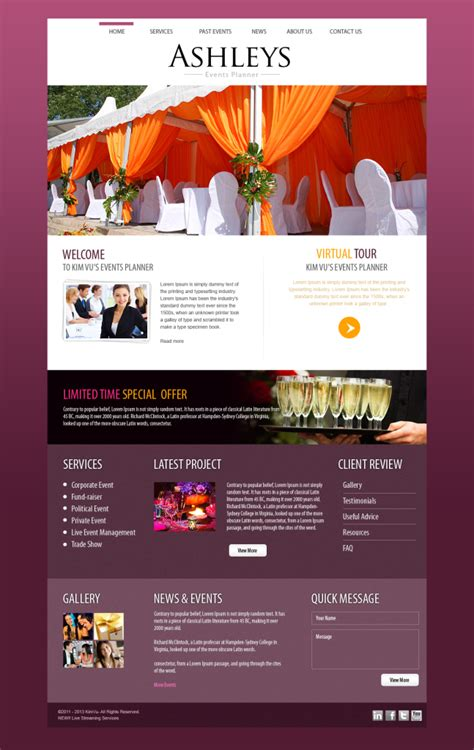 web design agency portfolio event planner website design your