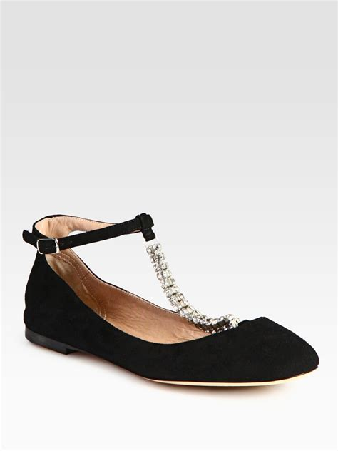 t shoes flats chlo 233 embellished suede tstrap ballet flats in black lyst