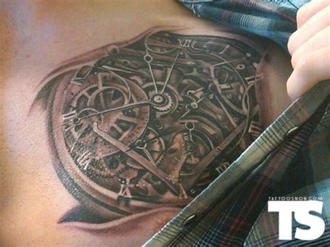 clock gears tattoo biomech clock tattoos clocks and