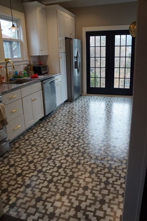 Diy Kitchen Floor The Island Another Update Stencils Tile And Floor Stencil