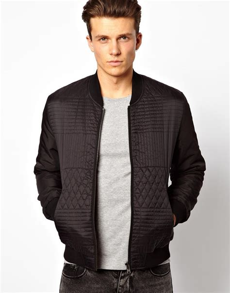 Quilted Bomber Jacket by Asos Quilted Bomber Jacket In Black For Lyst
