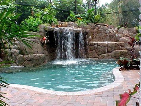 pool waterfall ideas tall waterfalls for pools inground