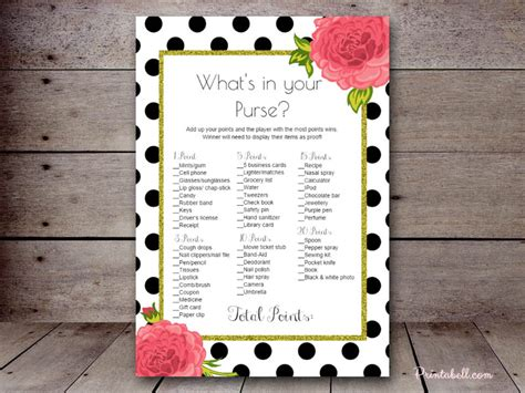 what in your purse bridal shower template what s in your purse printabell create