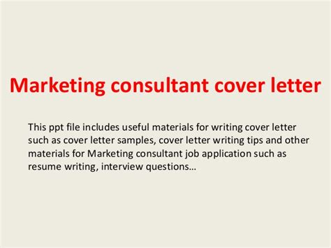Marketing Consultant Cover Letter by Marketing Consultant Cover Letter