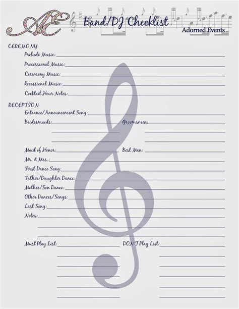 printable wedding reception music checklist pinterest the world s catalog of ideas