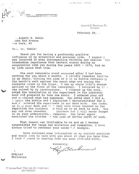 Compassionate Release Letter Exle The Albert B Sabin Digitization Project Exle Of Compassion And How It Influenced A