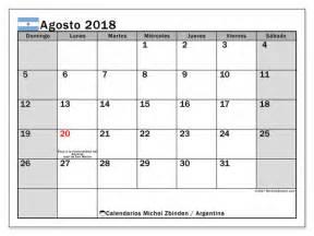 Calendario 2018 Con Feriados Argentina Calendario Para Imprimir Agosto 2018 D 237 As Feriados En