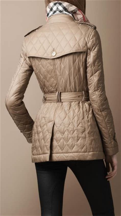 burberry brit quilted trench coat in beige