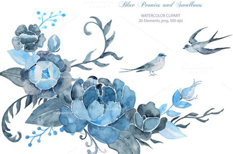 wedding clipart blue peony swallows illustrations on
