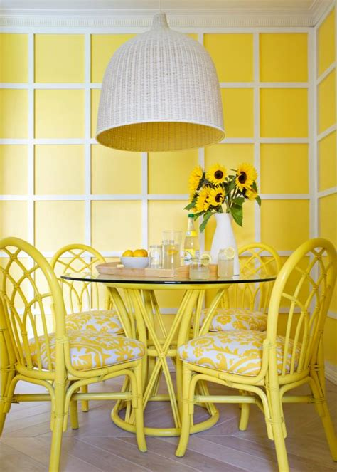 contemporary yellow  white dining room hgtv