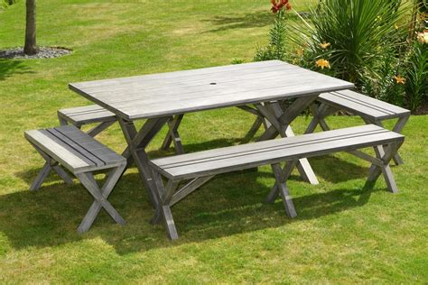 wooden garden table and bench set 12 seater antique grey large wooden patio garden dining