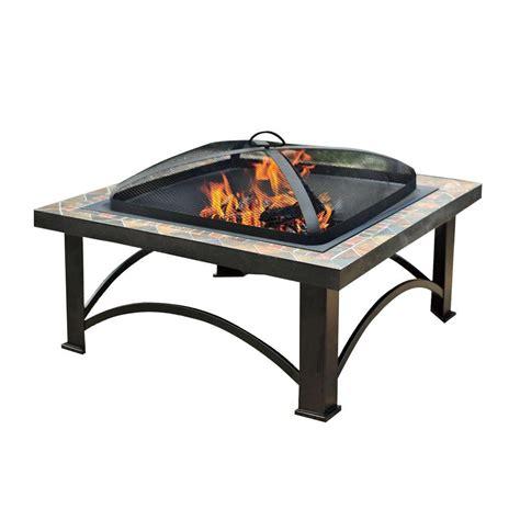 Sunjoy Andover 30 In Slate Tile Fire Pit L Ft456pst 2b Home Depot Firepits