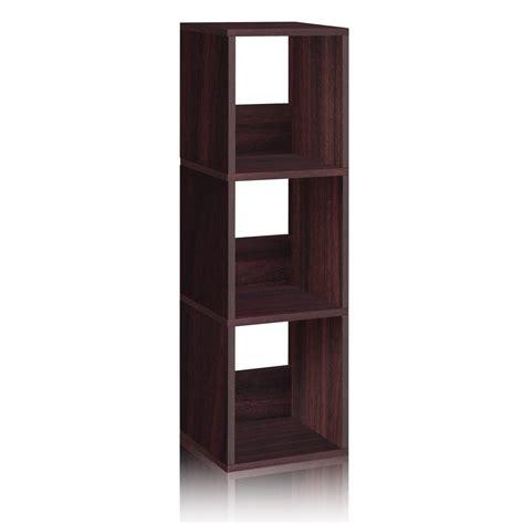 narrow bookcase espresso eco 3 shelf trio narrow bookcase and storage shelf espresso