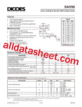 diodes inc bav99 7 f bav99 7 데이터시트 pdf diodes incorporated