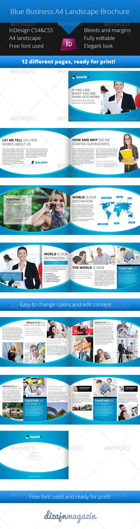 Blue Landscape Brochure A4 Indesign Template Graphicriver Indesign Landscape Template