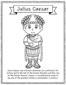 Julius Caesar Biography For Middle School | julius caesar coloring page craft or poster with mini