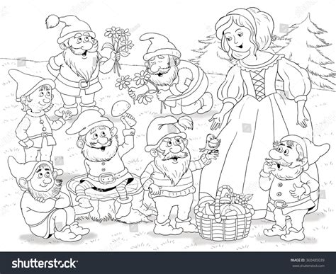 the snow princess grayscale coloring book beautiful tales volume 4 books snow white seven dwarfs tale stock illustration