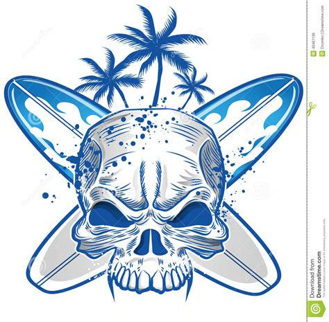 skull on surfboard stock vector image 40467136