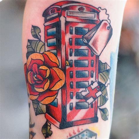 london tattoo line work london phone box tattoo pinterest