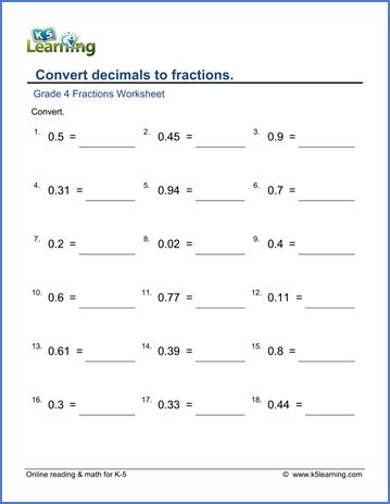 grade 4 fractions to decimals worksheet convert decimals