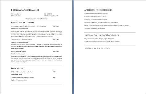 Exemple Cv De Travail by Exemple De Cv Assistant De Service Social