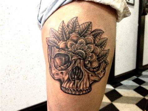 tattoo mandala skull skull and mandala thigh tattoo by aireelle on deviantart