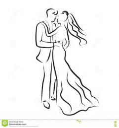 And Groom Outline Drawing by Silhouette Of And Groom Newlyweds Sketch Drawing Wedding Invitation Vector