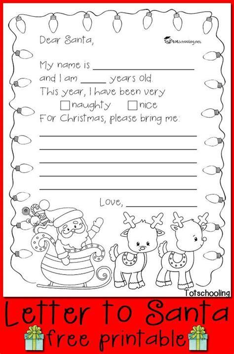 letter santa printable christmas kindergarten