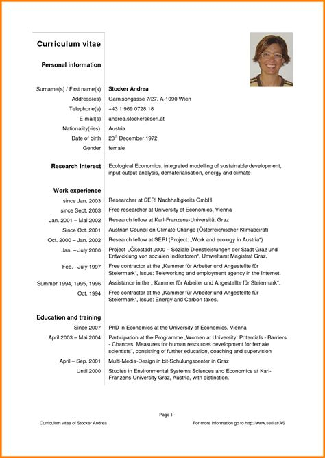 Curriculum Vitae Sle Of 5 Curriculum Vitae Simple Pdf 28 Images Simple Cv