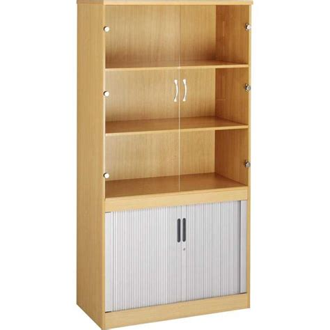 Glass Fronted Bookcases by Combination Tambour Cupboard And Glass Fronted Bookcase