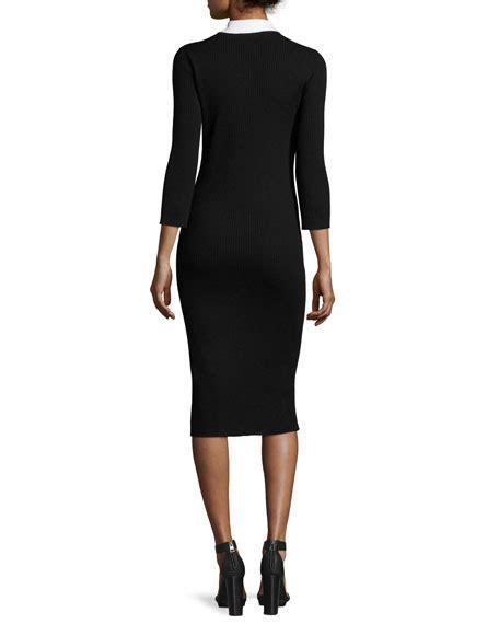 3 4 Sleeve Collared Dress 3 4 sleeve collared sweaterdress black whitewash