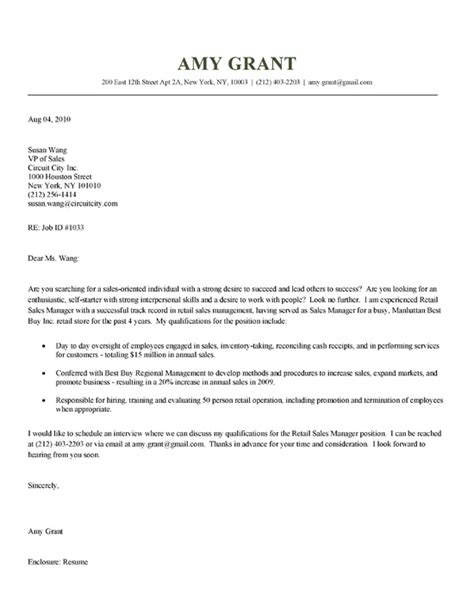 Cover Letter For Retail Sales by Retail Sales Cover Letter Exle