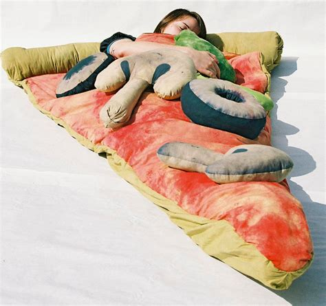 hot pocket homemade pizza slice sleeping bags geekologie