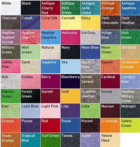 gildan t shirt color chart buy gildan t shirt colors 54 discount