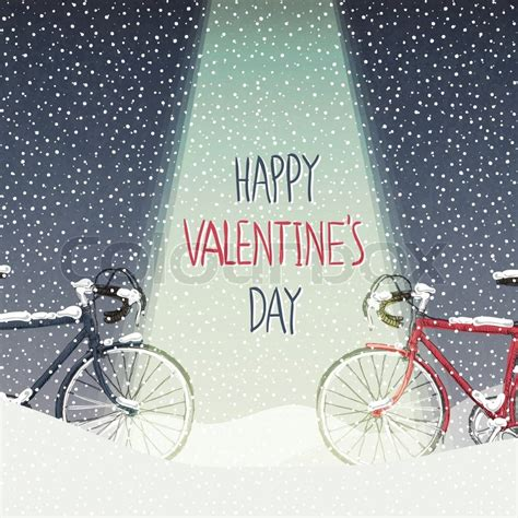 valentines card snow covered bicycles calm winter scene stock vector colourbox