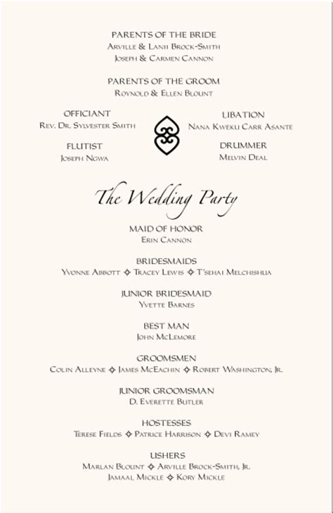 Wedding Reception Programs Examples African American Wedding Programs Adinkra Wedding Program Wording African Program Samples