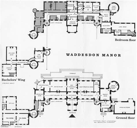 Waddesdon Manor Floor Plan | waddesdon manor plans of the ground floor and chamber floor estate plans elevations