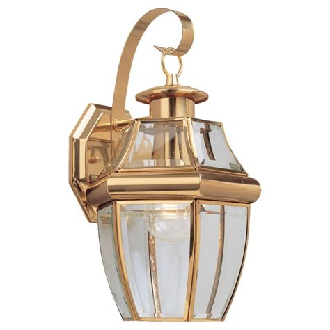 Brass Outdoor Lighting Sea Gull Lighting Lancaster Wall Mount 1 Light Outdoor Polished Brass Fixture 8067 02 The Home