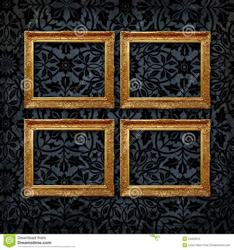 gallery of 4 vintage frames on a black velvet wall stock photography image 24423072