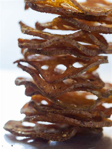cumin spiced lotus chips snack recipe spoon fork bacon