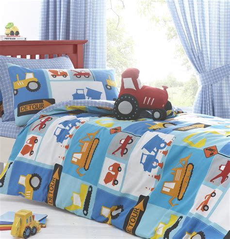 tractor bedding set digger tractor boys bedding quot detour quot duvet cover set sheet or curtains ebay