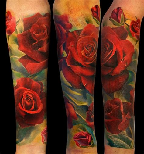 red rose bud tattoo realistic roses half sleeve andrey barkov