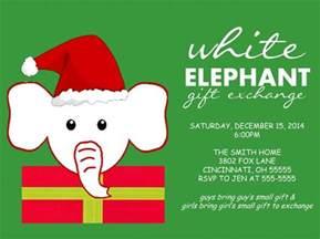 holiday christmas party invitation white elephant exchange