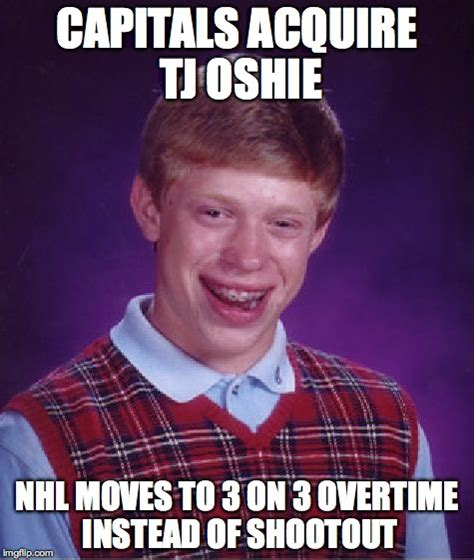 Tj Oshie Meme - bad luck brian meme imgflip